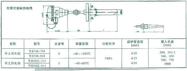 柱管式铠装热电偶
